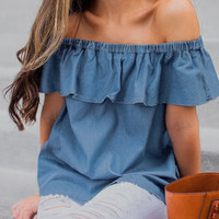 Womens Summer Off Shoulder Short Sleeve Ruffles T Shirt 2017 Fashion Jeans Blue Top Shirts