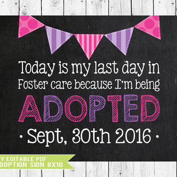 Adoption Sign, Adoption Announcement, Adoption Gifts, Adoption chalkboard, Adoption Printable, Adoption Day, Gotcha Day Sign, YOU EDIT PDF