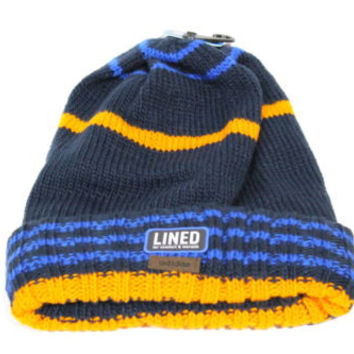Adidas Adult's Stratton Fold Navy Blue/Black Lined Beanie Hat OS