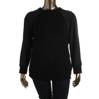Calvin Klein Jeans Womens Knit Contrast Sleeves Sweater