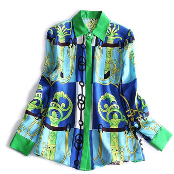 2017 europe and american luxury style walla era 100% silk polo shirts and 3d printing silk blouses women chain shirt tops