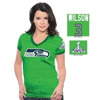 Russell Wilson Seattle Seahawks Super Bowl XLVIII Champions Women's Name and Number T-Shirt - Action Green