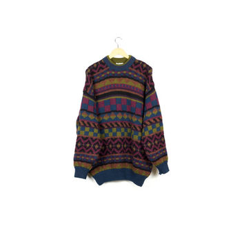 cozy thick wool knit sweater / 100% wool / pullover / crewneck / oversize / 80s 90s hip hop / grunge / wild pattern / ski lodge / men l - xl