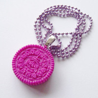 Metallic Purple Oreo Necklace by CapricaAccessories on Etsy