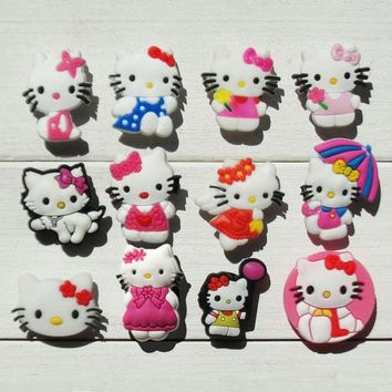 Novelty Single Sale 1pc Hello Kitty PVC Shoe Charms,Shoe Buckles Accessories Fit Wristbands Croc JIBZ,Kids Party X-mas Gifts