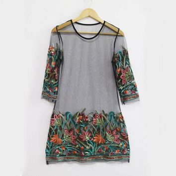 Trendy Women dress three quarters sleeve Mesh Casual round neck Party Floral print transparent Polyester Mini Dresses one pieces