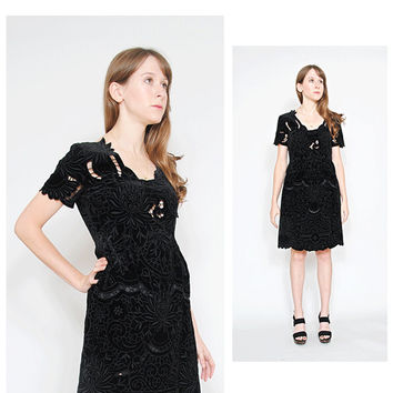Vivienne Tam Dress Vintage 90s Velvet Babydoll Embroidered Cut Out Cocktail Holiday Party Dress Size S / M