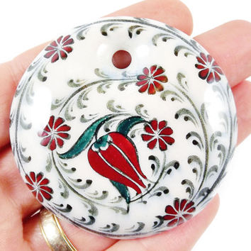 OOAK Large Hand painted Turkish Cini Ceramic Pendant - Red Tulip Flower White No: 2 - 1pc
