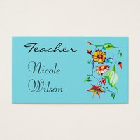 Chic and Whimsical Flowers Design for Teachers Business Card