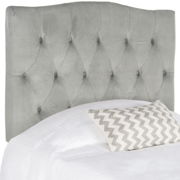 Axel Pewter Linen Tufted Headboard Twin