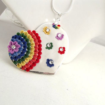 Rainbow Heart Pendant Clay Floral Multicolour Sparkly Heart Gift Fashion Accessory Ready To Ship Spring Silver Necklace  Under 50 Dollars