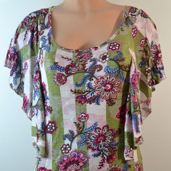 Timing Floral Top Olive/Beige,