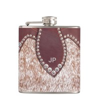 Monogram, Faux Roan Hair & Leather Flask