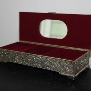 Vintage Silver Plated Godinger Rectangular Jewelry Box