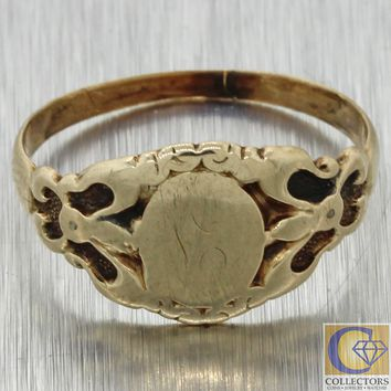 1880s Antique Victorian Estate 14k Yellow Gold Signet Initial Band Ring