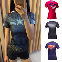 High Quality Women T-shirt Bodys Top Armour DC Marvel Captain America/Spiderman Compression Slim Girl Under Fitness Tights