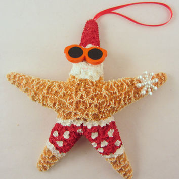 starfish christmas ornament beach themed santa by cereusart