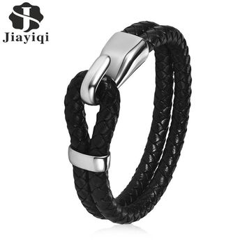 Jiayiqi Vintage Men Jewelry Braid Genuine Leather Bracelet Stainless Steel Buckle Bangle Double Layer Black Rope Chain Punk
