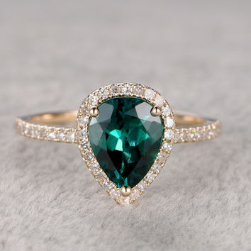 Pear Shaped Emerald Diamond Engagement Ring Yellow Gold Halo Promise Ring Thin Stacking 14K/18K