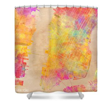 New York city map colored Shower Curtain