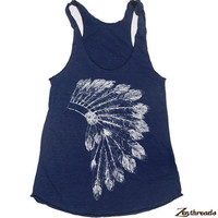 Womens Native American HEADDRESS american apparel Tri-Blend Racerback Tank Top S M L (8 Color Options)