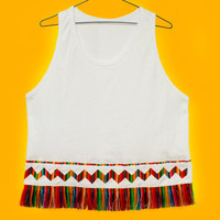 Tribal Top, Women Tank,  Rainbow Top with Fringe in Peruvian fabric, Peruvian textile, Women's Tops, Trendy Tops, Tank Top, T shirt