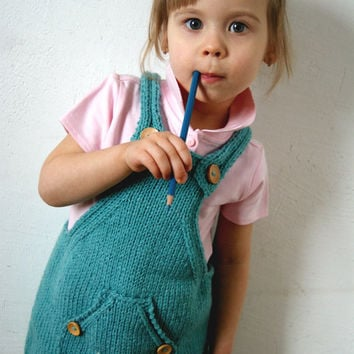 turquoise Toddler dress, Knitting Baby dress, girls dress, turquoise dress