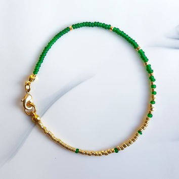 Green and Gold Ombré Seed Bead Bracelet