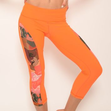 Ana Zabella Orange and Floral Contrast Workout Capri Pant