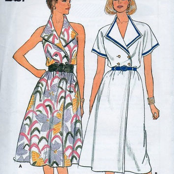 Butterick 3276 Sewing Pattern Retro Style Halter Neck Casual Spring Dress Wide Pointed Collar Double Breasted Front Closure Uncut Bust 34 36