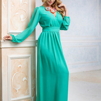 Light Green Maxi Dress, long evening dress, Bridesmaids Dress, Formal dress, Evening Gowns, Special occasion womens dress, with sleeves