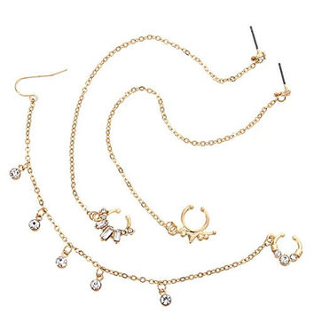 Non-piercing Septum Gold Tone Multi Shape 3 Pcs Nose Chain Set (No Piercing Required, Ear to Nose)