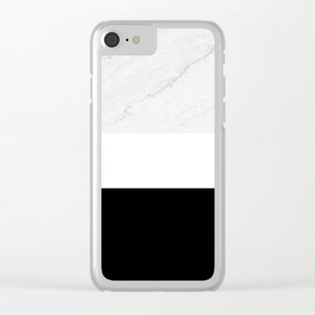 Marble Black White Clear iPhone Case by ARTbyJWP
