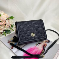 Kuyou Gb99822 Tory Burch Leather Chain Strap Black Flap Cover Bag 21x16.5x7 Cm