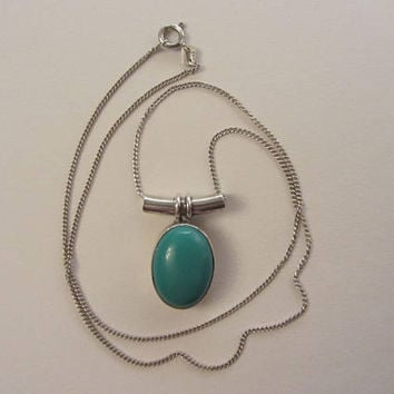 "Sterling Silver Natural Turquoise Modernist Slide Pendant Necklace - 18""- 6.10g"