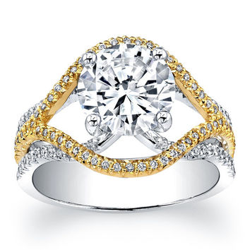 Ladies 14kt two-tone pave diamond engagement ring with 2ct Round white sapphire and 0.45 ctw G-VS2 diamond quality
