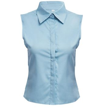 OL Style Turn Down Collar Sleeveless Pure Color Shirt for Women