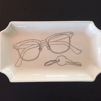 Large Handmade ceramic catch-all tray or dish for organizing your keys, glasses or sunglasses