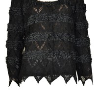 Pretty Angel Black Lace Cardigan Sweater Top Vintage style handkerchief sleeve