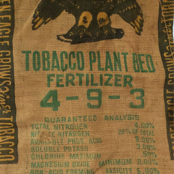 Burlap Sack Golden Eagle Brand Tobacco Fertilizer Wilmington Fertilizer Co. Wilmington North Carolina