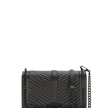 Chevron Quilted Chain Love Crossbody