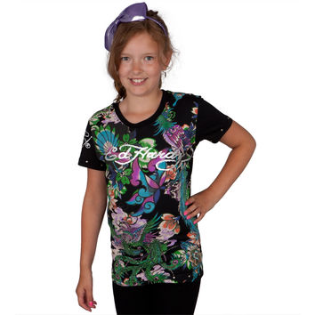 Ed Hardy - Dragon & Bird Collage Girls Youth T-Shirt