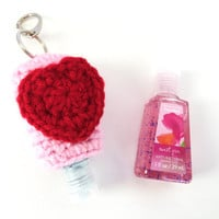 PocketBac Hand Sanitizer Holder/PocketBac Hand Sanitizer Cozy/PocketBac Hand Sanitizer Case/Valentine's Day PocketBac -with split ring/clasp