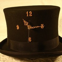 Tick-Tock Top Hat - working clock in a wool top hat - custom built steampunk hat