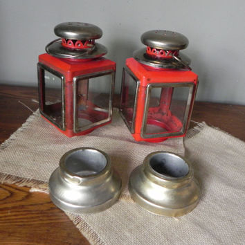 Vintage red metal lantern - use for a candle - 2 available rustic outdoors lighting party wedding camping