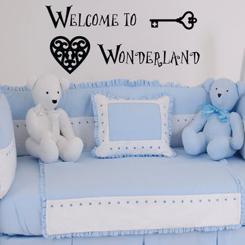 Alice In Wonderland Wall Decal Quote Welcome To Wonderland Vinyl Stickers Nursery Bedding Wall Art Mural Bedroom Dorm Home Decor Q056