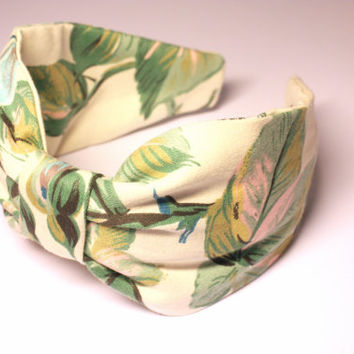 Headband. Floral fabric headband. Knotted headband. Turban style headband. Turband. Floral headband. Laura Ashley print.