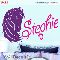 SALE - Horse Wall Decal - Custom Name Wall Decal, Pony Art, Girls Name Wall Decal Horse Decor Girls Bedroom Decor Monograms Baby Nursery