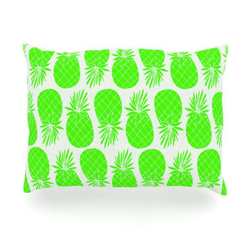 "Anchobee ""Pinya Neon Green"" Lime Pattern Oblong Pillow"