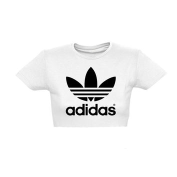classic Adidas Crop top style tshirt tee fresh dope celebrity festival clothing slouchy fashion urban unique sexy